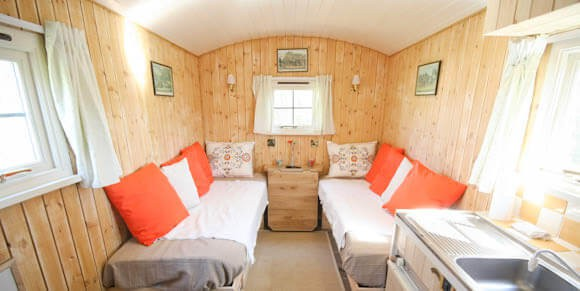 View on the single bedding  area in the hut