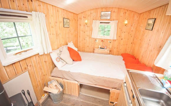 View on the double bedding  area in the hut