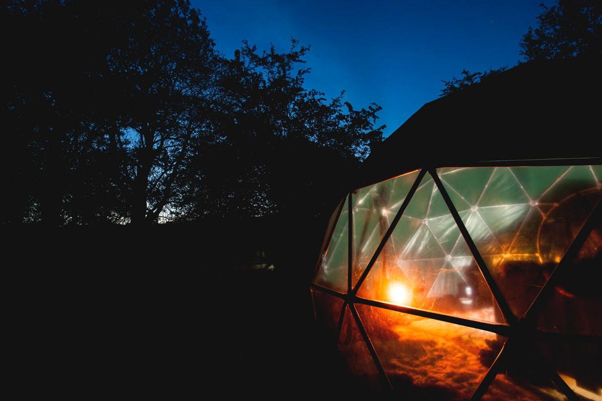 Lantern lit dome.