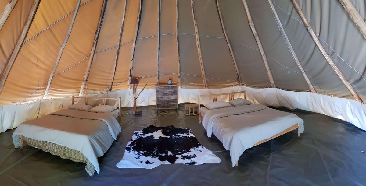 Tipi tent inside