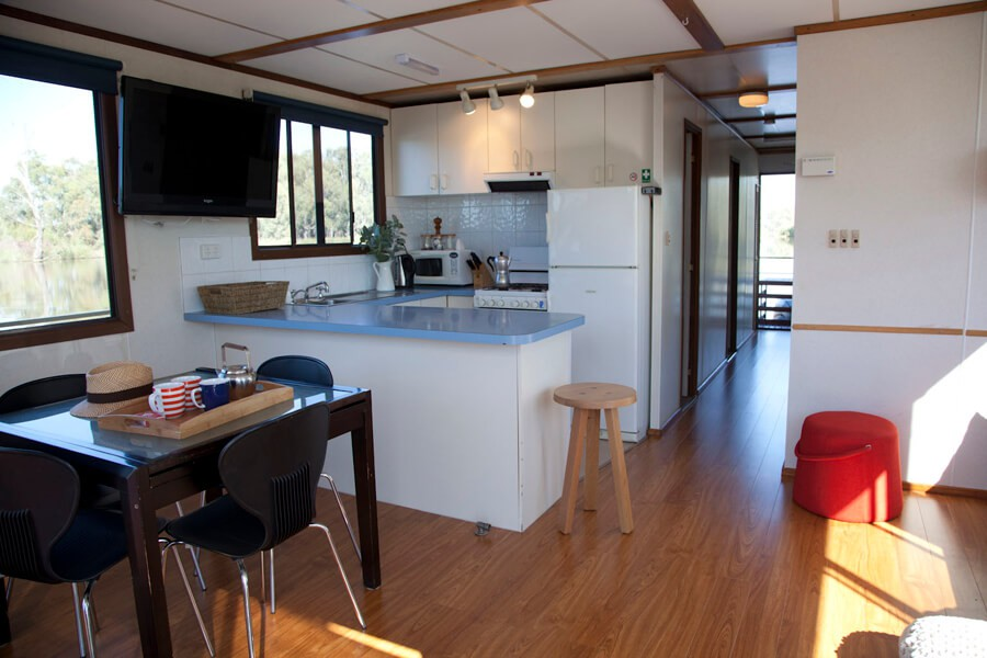 The boat has a fully equipped kitchen for your convenience.