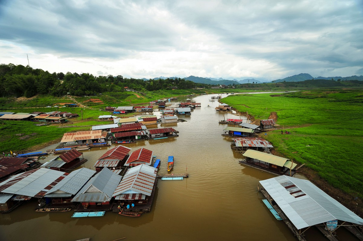 Floating houses in Sangklaburi.