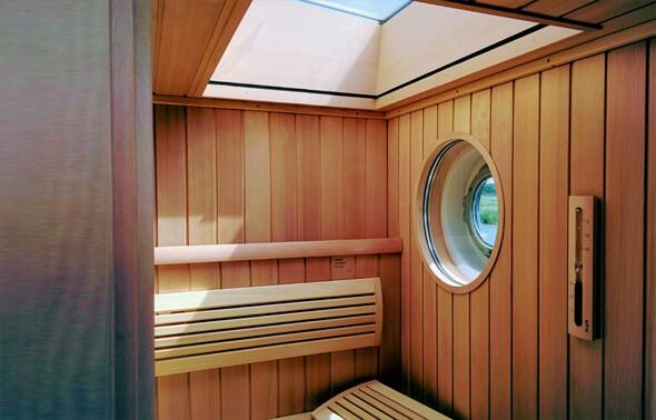 Sauna with sky view