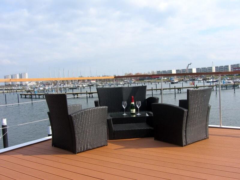 Enjoy a glass of wine the sun deck