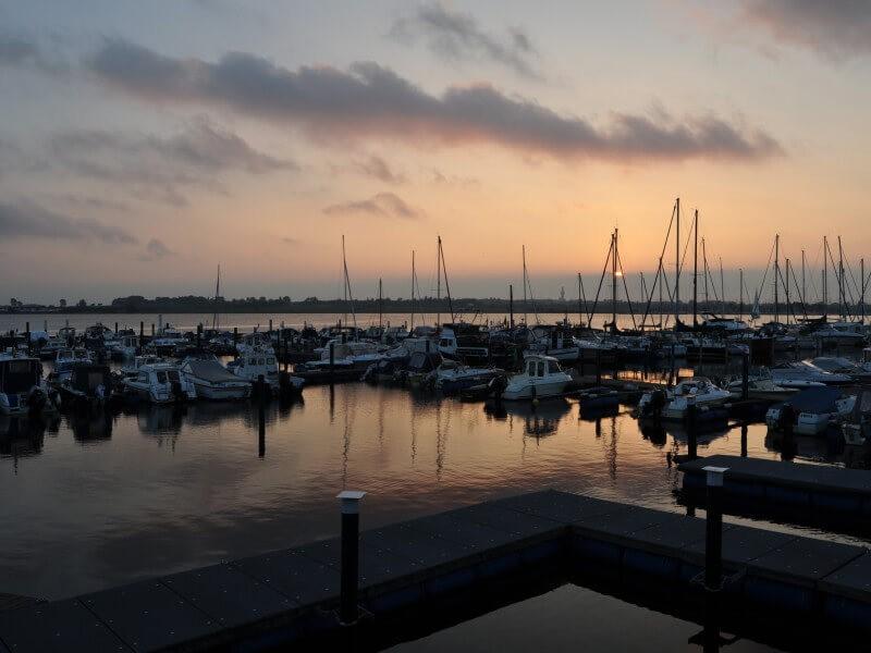 The marina at dusk