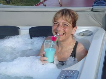 Enjoying a cocktail in the jacuzzi