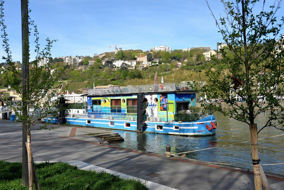 Colorful houseboat in Lyon
