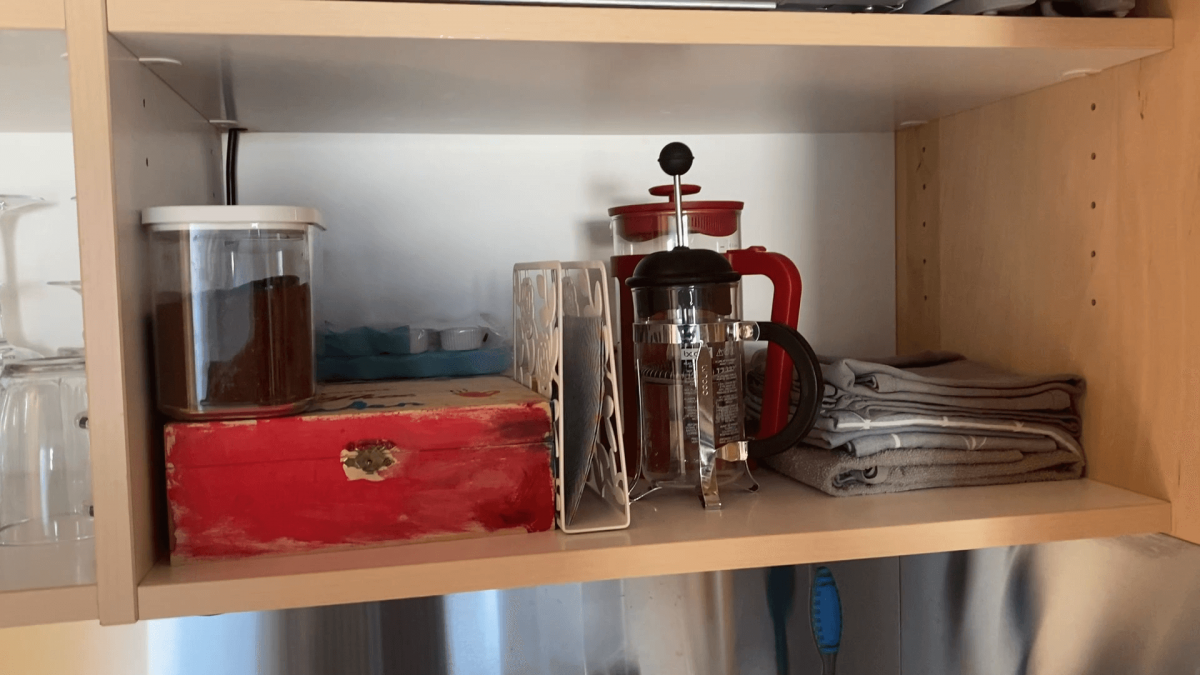 Supplies of coffee (cafétiere), tea, coffee milk and sugar on the house