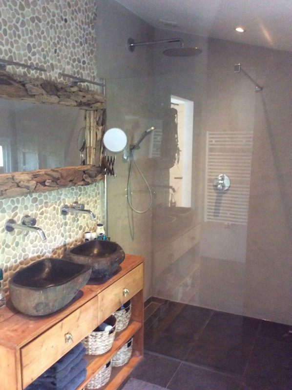 Luxurous bathroom with rainshower and toilet
