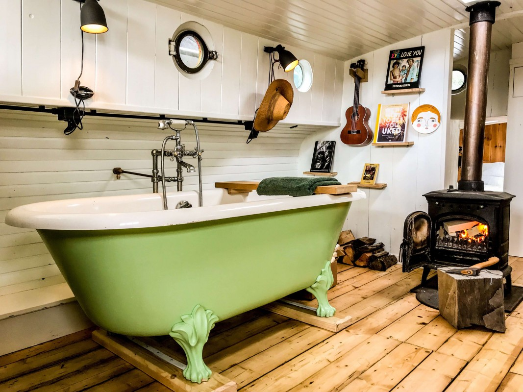 Bath next to the wood stove