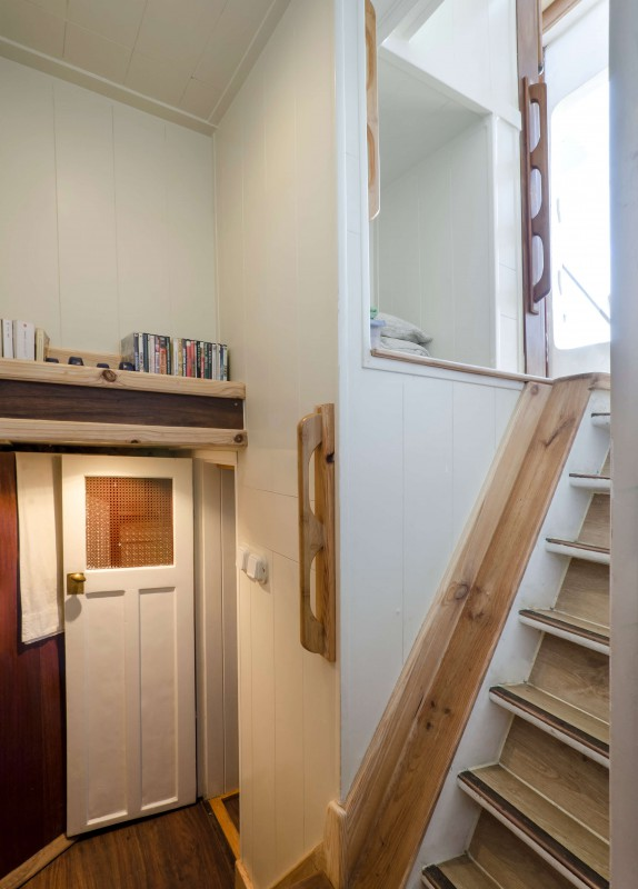 stairs-entrance of the double cabin+ entrance toilet-shower
