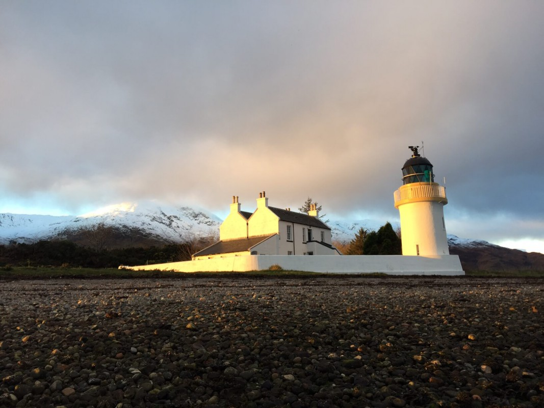 Corran Point Lighthouse and Lodge in winter