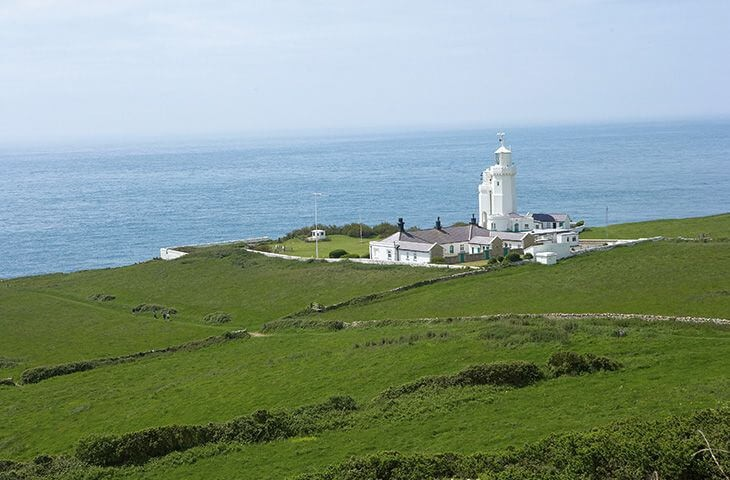 View of the cottages and lighthouse, with stunning seaviews