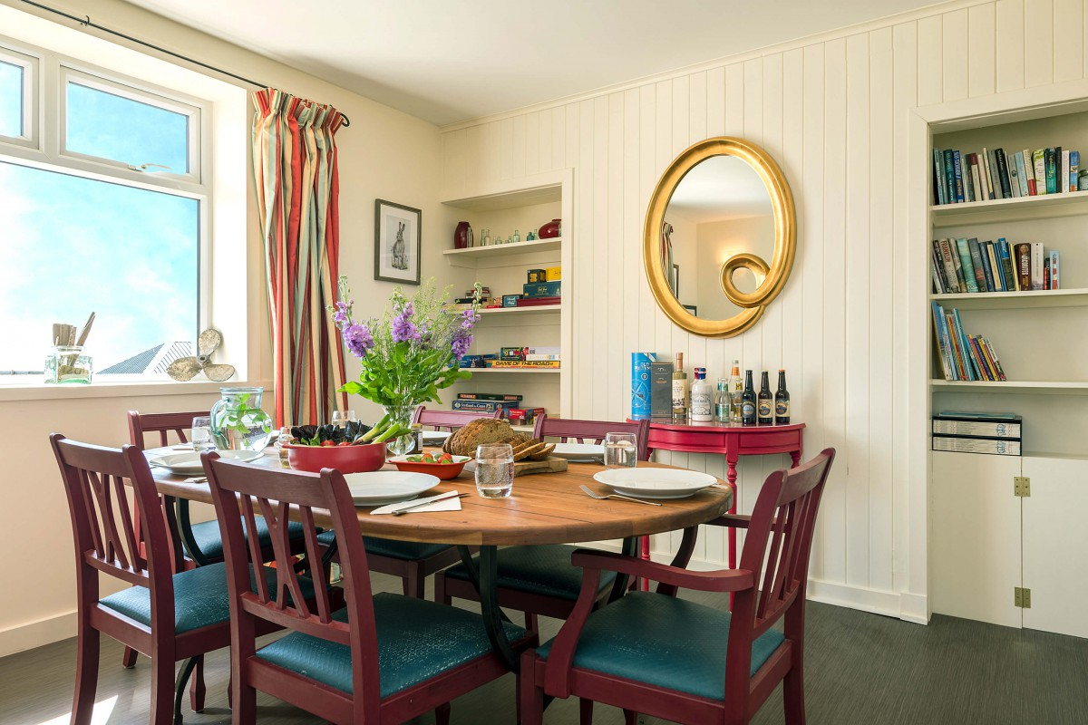 Our dining room is light and airy - great for family meals