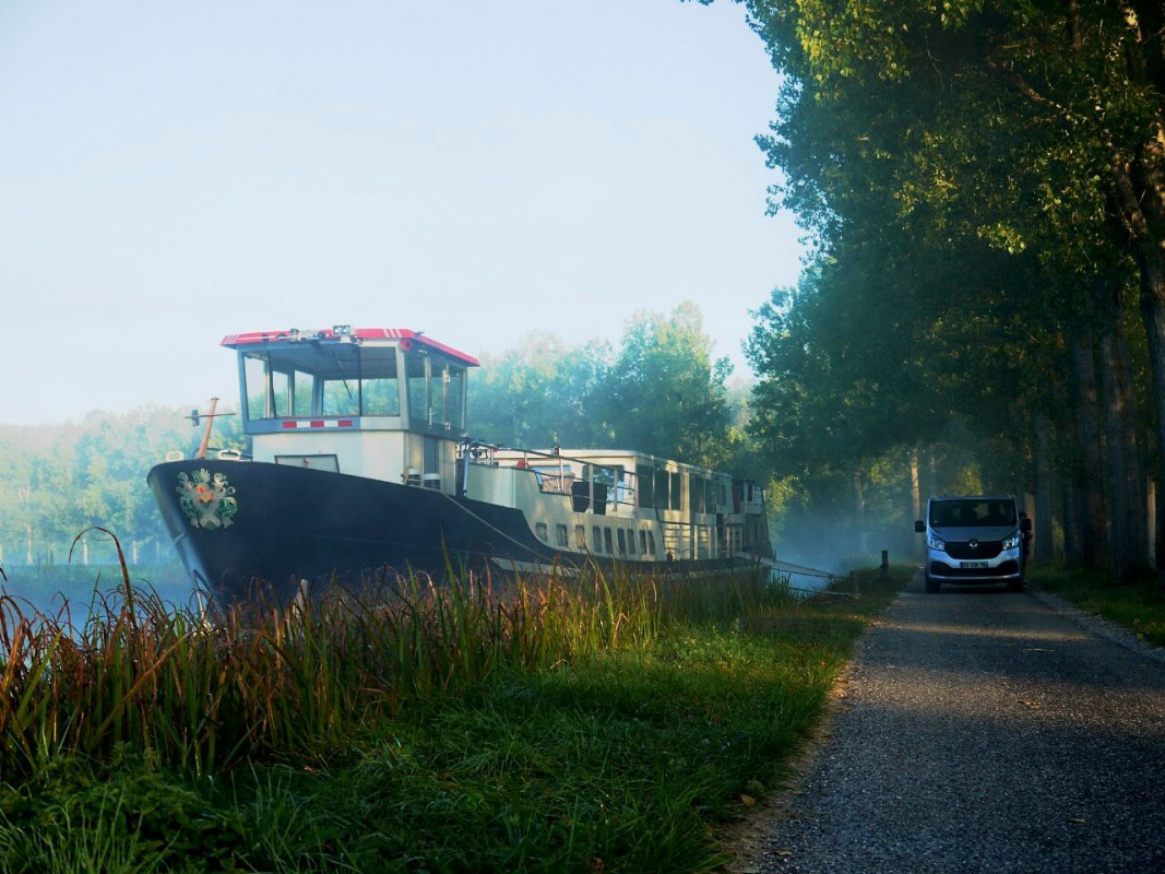 The Grand Victoria moored on the Burgundy canal