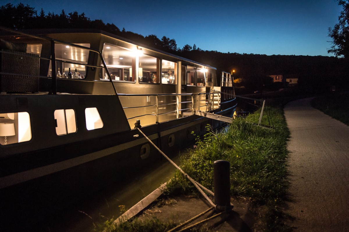 The Grand Victoria night mooring on the Burgundy canal