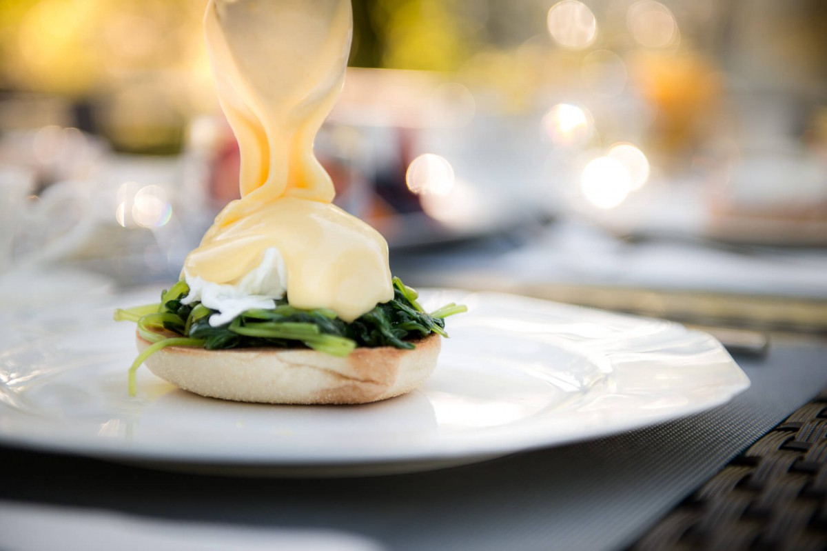 Eggs Benedict Florentine breakfast on board the luxury yacht Grand Victoria
