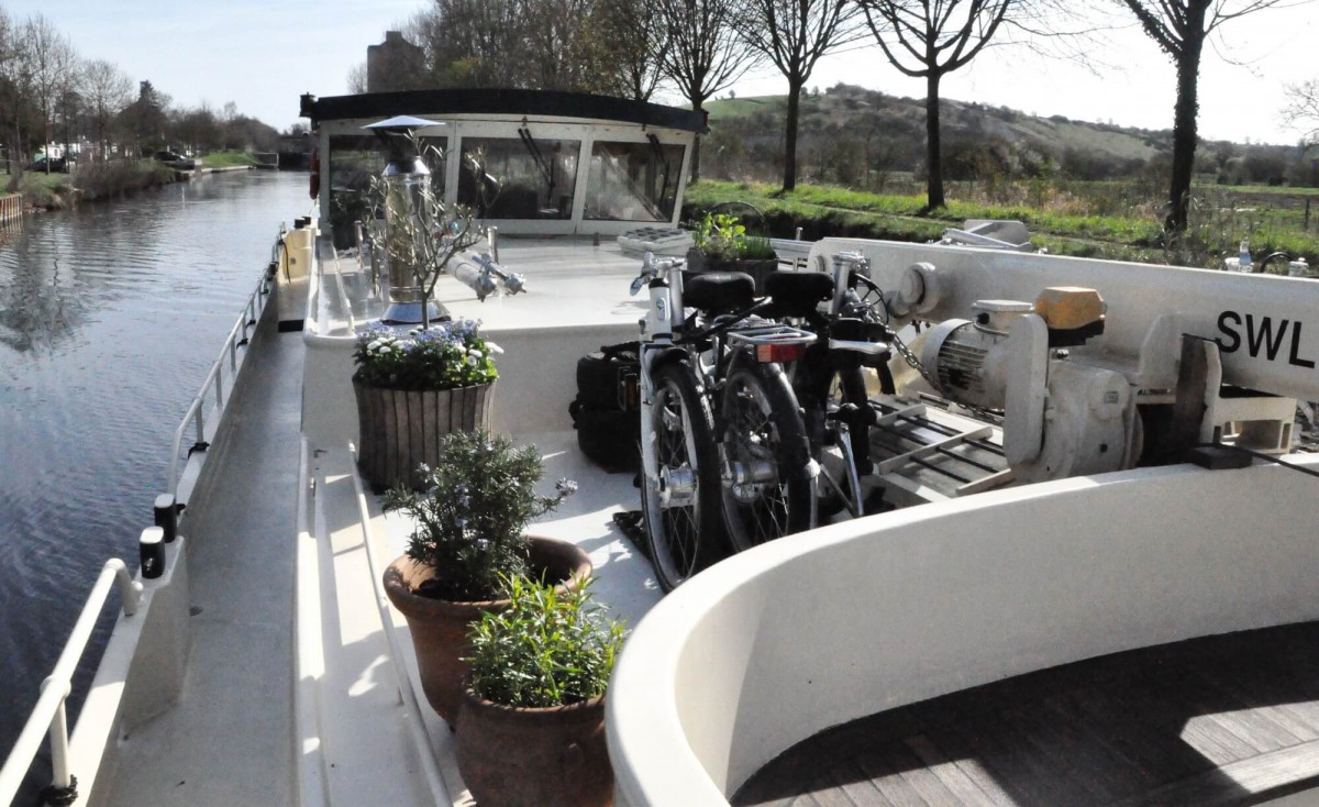 View to the wheelhouse, including the folding bikes.