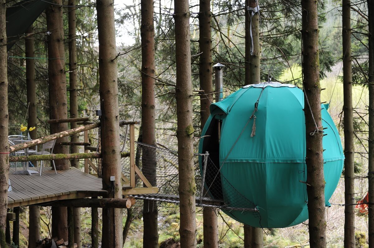Unique experience - tree tent swinging in the trees