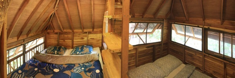 The bedrooms inside the treehouse