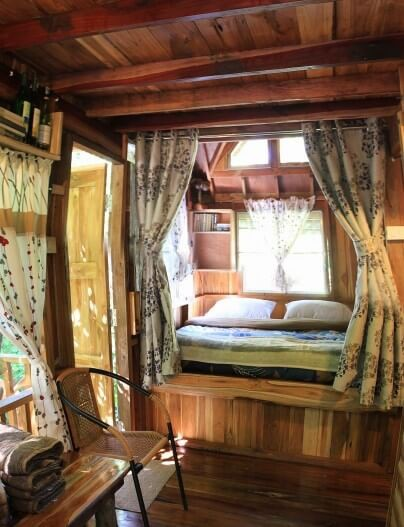 A cozy 'bedroom' inside the treehouse