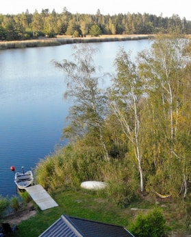 Photo from a drone flying over the cottage