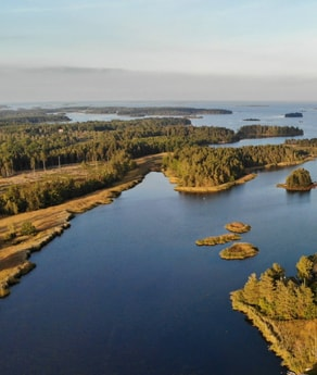 Ocean bay and parts of the archipelago. Photo from a drone flying over the bay