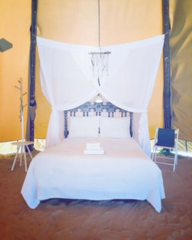 Sleep well in this comfortable bed with mosquito net