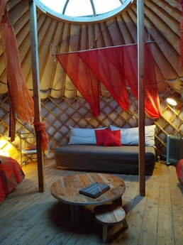 Confortable inside the yurt