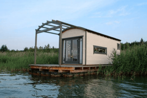 A view of the houseboat from outside