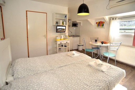 The room with its own kitchenette and dining space