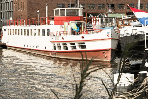 Here's the ship Sachsen-Anhalt seen from the Verbindingsdam.