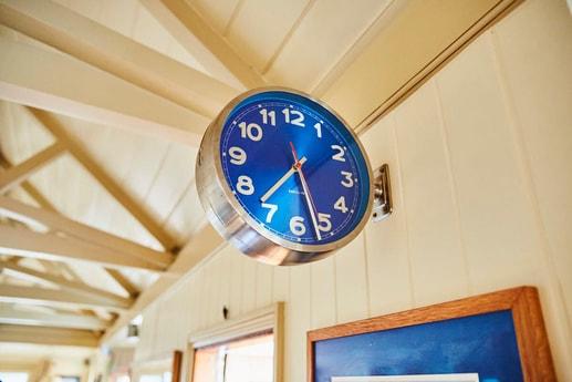 A blue clock
