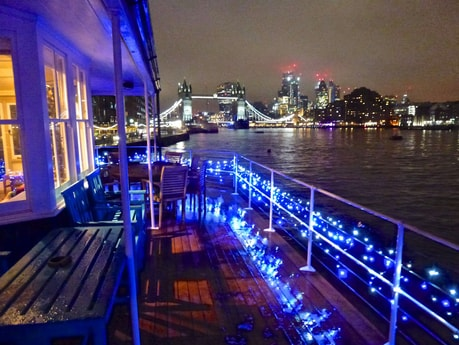 Christmas lights on the upper deck