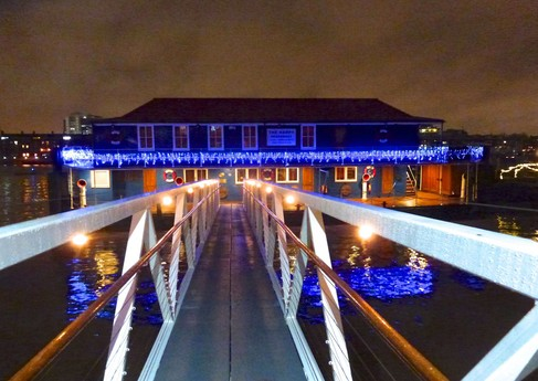 Christmas lights from the entrance brow bridge
