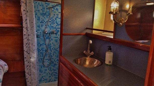 Shower and washbasin.