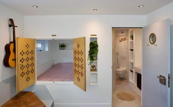 cupboard bed & bathroom