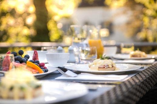 Breakfast alfresco on board the Grand Victoria luxury yacht