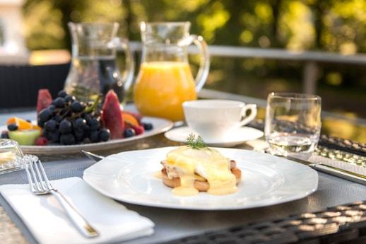 Eggs Benedict for breakfast on board the Grand Victoria
