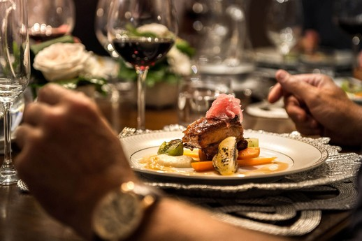 Gourmet main course on board the Grand Victoria luxury yacht