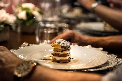 Meille Fuelle dessert on the luxury yacht Grand Victoria