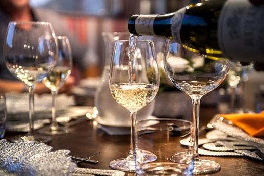 Wine service on the luxury yacht Grand Victoria