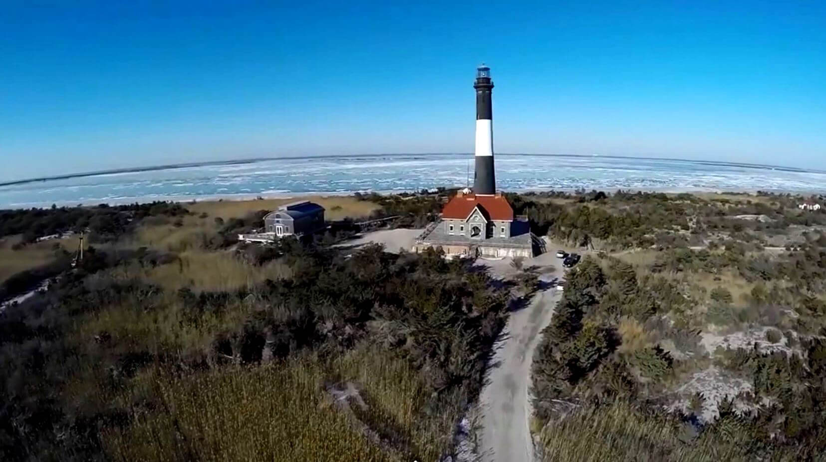 Fire Island Lighthouse seen from the sky