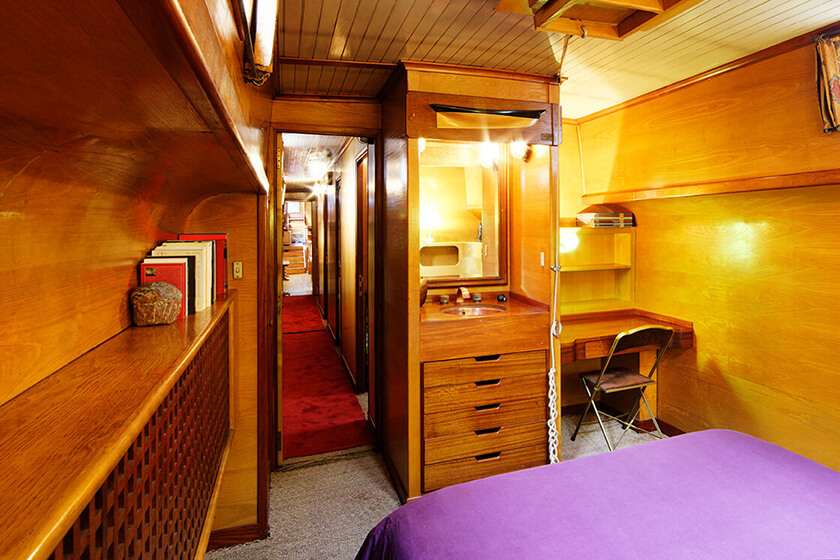 Cabin of a river barge in France
