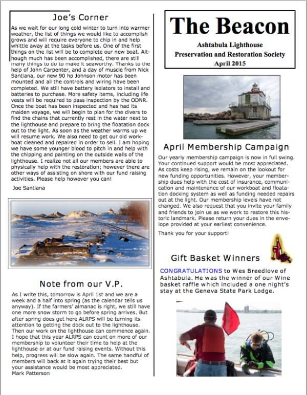 Ashtabula lighthouse newsletter