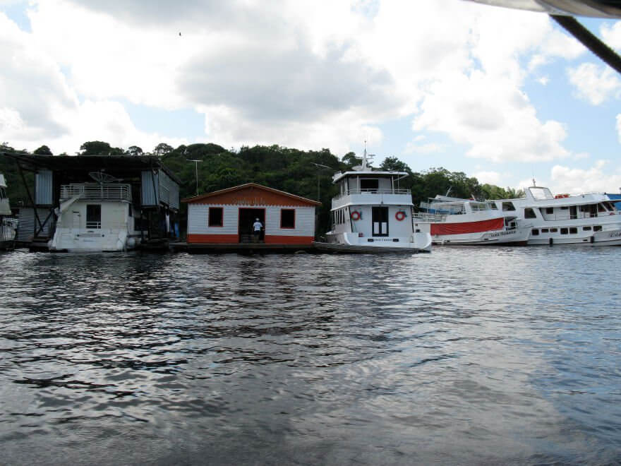 Houseboats on the Rio Negro dried up