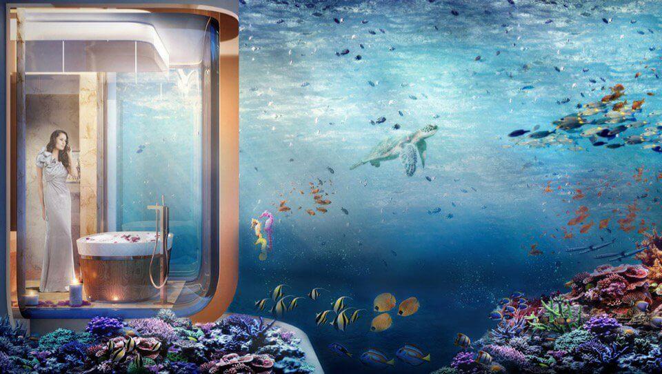 The bathroom of the Dubai houseboat