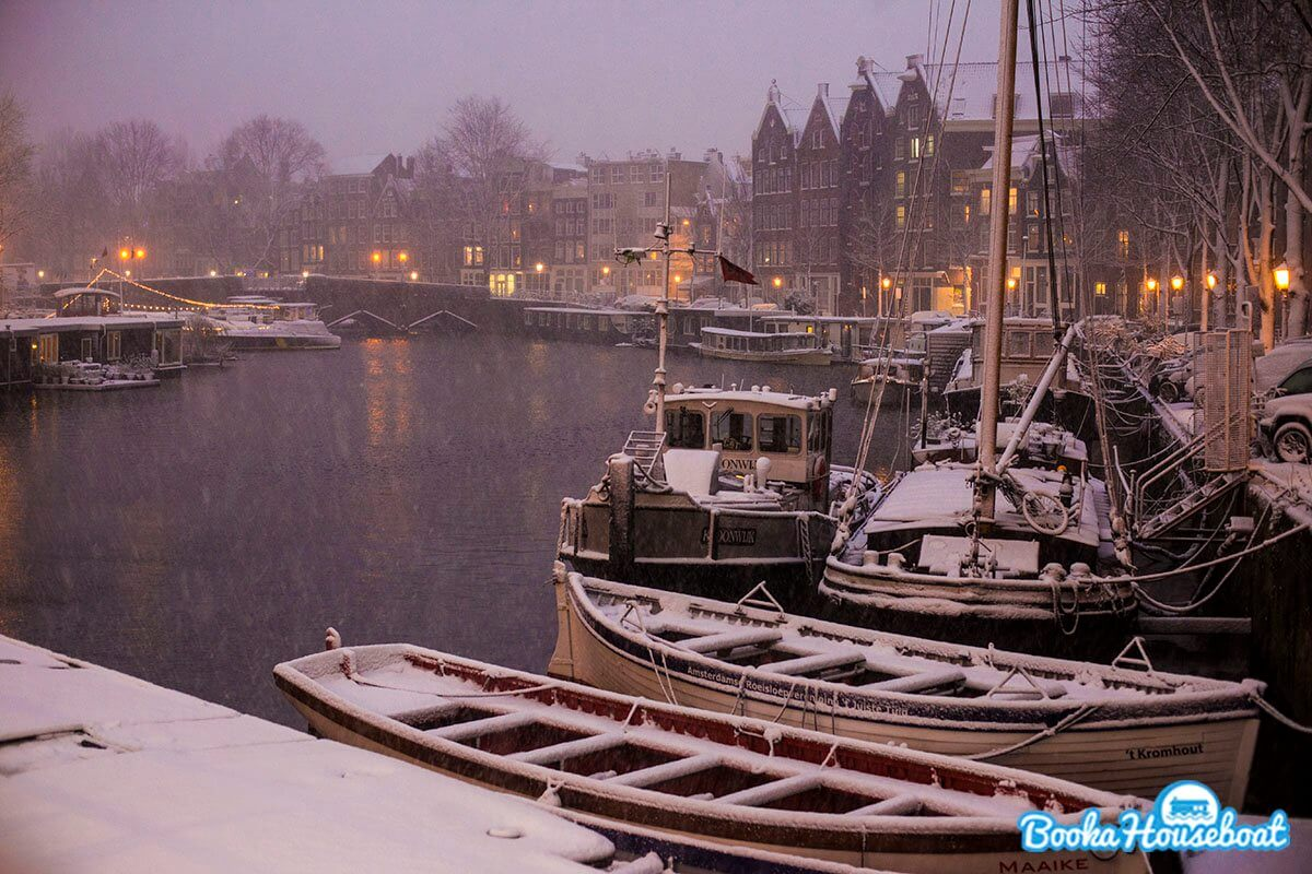 Amsterdam houseboats during the winter
