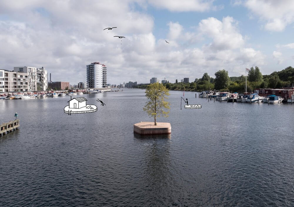 The first floating island in copenhagen with houseboats at the background