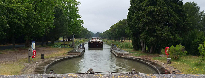 Canal-du-Midi is known for the many wonderful trees planted along the waterside
